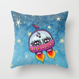 Space Lovers Throw Pillow