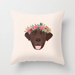 Chocolate Lab floral crown dog breed pet art labrador retrievers dog lovers giftsChocolate Lab flora Throw Pillow