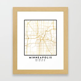 MINNEAPOLIS MINNESOTA CITY STREET MAP ART Framed Art Print