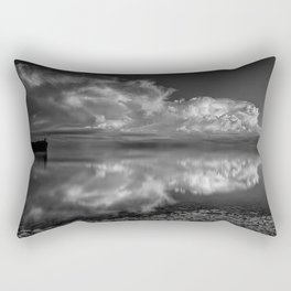 Old Man and the Sea black and white photograph with clouds reflecting in the water Rectangular Pillow