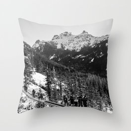 sky pilot suspension bridge Throw Pillow