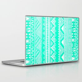 Turquoise White Tribal Geometric Pattern  Laptop & iPad Skin