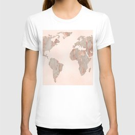Rosegold Marble Map of the World T-shirt