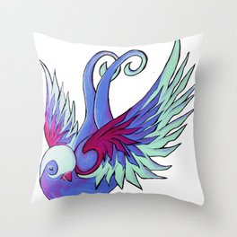 Acrylic Sparrow Painting Throw Pillow