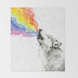 Wolf Howling Rainbow Watercolor Throw Blanket