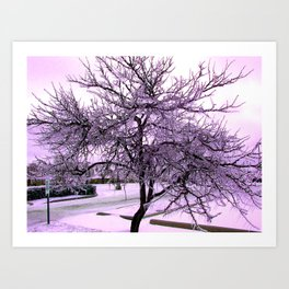 Ice Storm Tree - Purple Effect Art Print