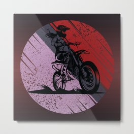 Lady Motocross driving the motorcycle in the dirt  Metal Print