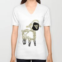lamb V-neck T-shirts featuring Lamb by Knot Your World
