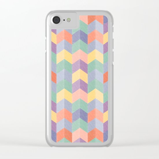 Colorful geometric blocks Clear iPhone Case