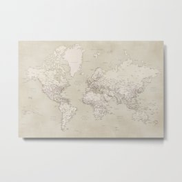 Sepia vintage world map with cities Metal Print