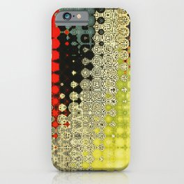 Irregular Abstract Pattern Artwork in Red, Yellow, Green and Orange iPhone Case