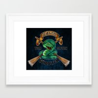 quidditch Framed Art Prints featuring Slytherine quidditch team captain by JanaProject