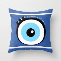 evil eye Throw Pillows featuring Evil Eye by Monica Barela-Di Bisceglie