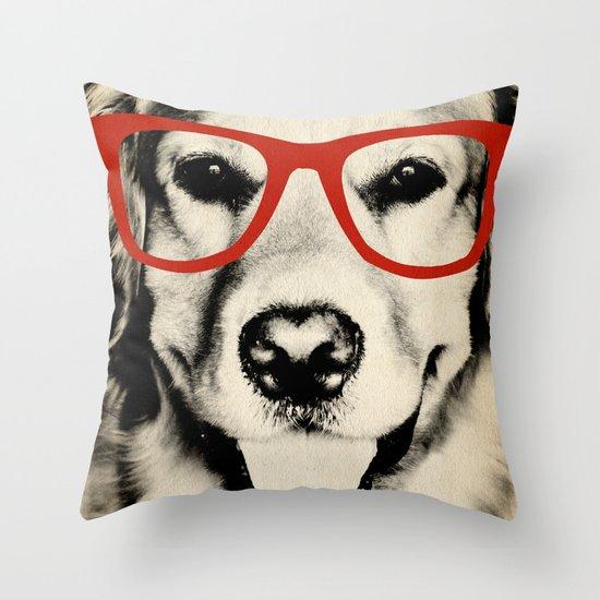 NERDY DOG Throw Pillow