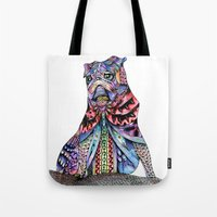 tatoo Tote Bags featuring Tatoo pug by Annie Liu