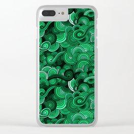 Swirly Emerald Green Clear iPhone Case