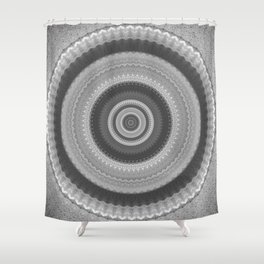 Bohemian Silver Mandala Design Shower Curtain