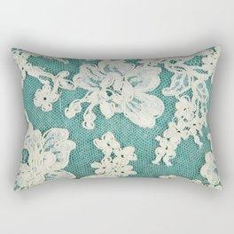 white lace - photo of vintage white lace Rectangular Pillow