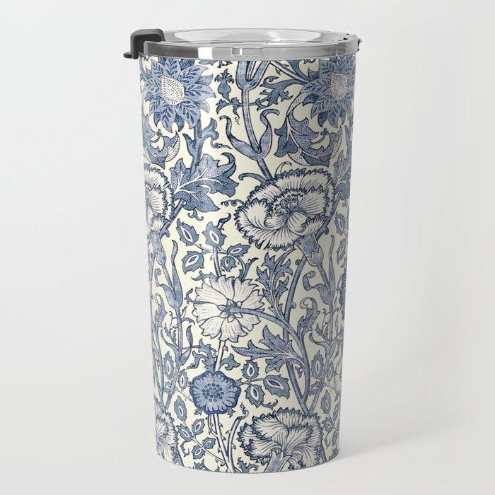 William Morris Navy Blue Botanical Pattern 6 Travel Mug