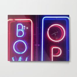 Blue and red neon sign Metal Print