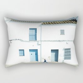 White and blue town Rectangular Pillow