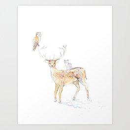 Deer with friends Art Print