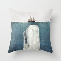 text Throw Pillows featuring The Whale - vintage  by Terry Fan