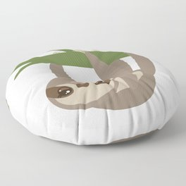Three-toed sloth on green branch on white background Floor Pillow