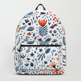 Winter blue and orange watercolor flowers Backpack