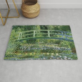 WATER LILLIES AND JAPANESE BRIDGE - CLAUDE MONET Rug