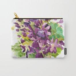 Violets, violet flowers, purple olive green floral design Carry-All Pouch