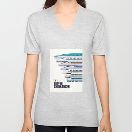 Shinkansen Bullet Train Evolution - White Unisex V-Neck