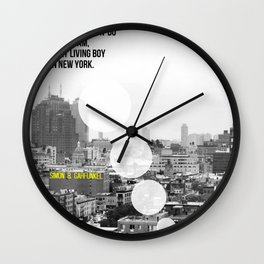"""""""The Only Living Boy in New York"""" by Simon & Garfunkel Wall Clock"""