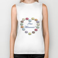 macaroons Biker Tanks featuring I love macaroons by Vannina
