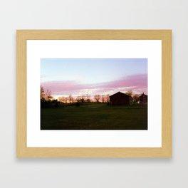 Pink Farm Sunset Framed Art Print