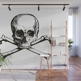 Skull and Crossbones | Jolly Roger | Pirate Flag | Black and White | Wall Mural