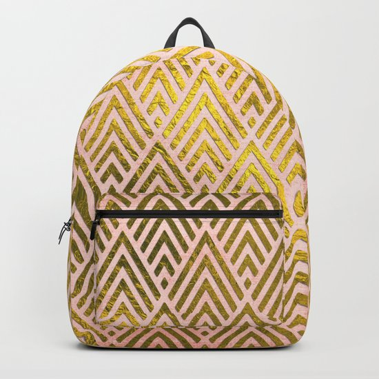 Gold foil triangles on pink - Elegant and luxury triangle pattern Backpack