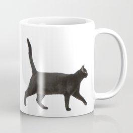 Black cat walking Coffee Mug