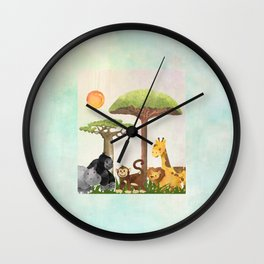 Watercolor Safari Animals Under Exotic Baobab Tree Wall Clock