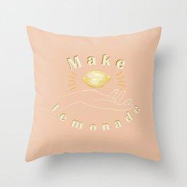 Make Lemonade Hand and Lemon Pink Throw Pillow