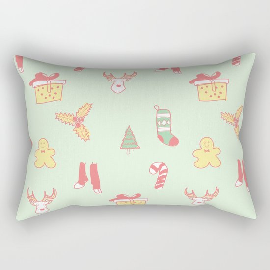 Pastel Bright Christmas Rectangular Pillow