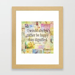 Charlotte Bronte happiness quote Framed Art Print