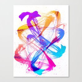 Vibrant and Expressive Multicolor Brushstrokes Canvas Print