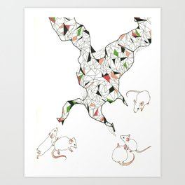 At Night the Lab Mice Bend Space and Time Art Print