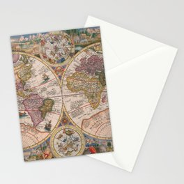 Vintage Map Print - 1594 double hemisphere world map by Petrus Plancius Stationery Cards