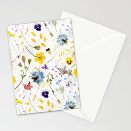 Dried And Pressed Wildflowers Midsummer Meadow I Stationery Cards
