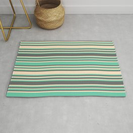 Aquamarine, Dim Gray, and Bisque Colored Lines/Stripes Pattern Rug
