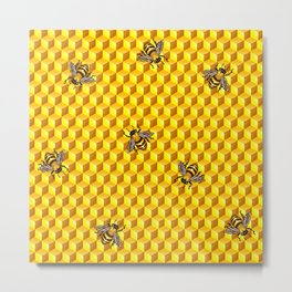 Bee Gold Metal Print