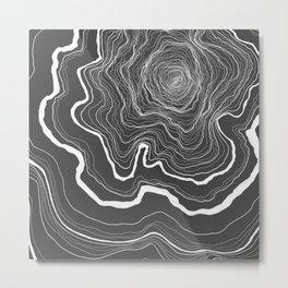 Tree Rings of Grey Metal Print