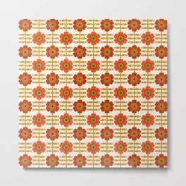 Famoo - floral retro 70s style throwback 1970's flower pattern Metal Print
